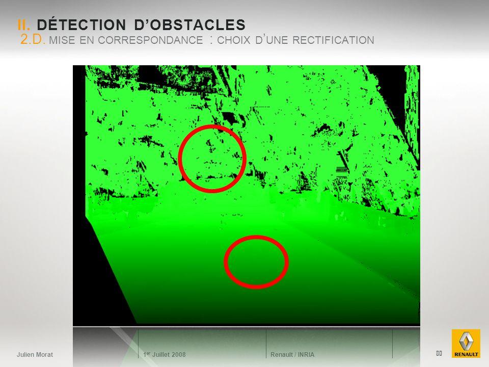 Julien Morat 1 er Juillet 2008 Renault / INRIA II. DÉTECTION DOBSTACLES 2.D. MISE EN CORRESPONDANCE : CHOIX D UNE RECTIFICATION 80