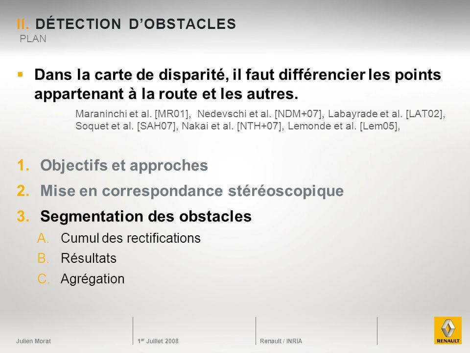 Julien Morat 1 er Juillet 2008 Renault / INRIA II. DÉTECTION DOBSTACLES Dans la carte de disparité, il faut différencier les points appartenant à la r