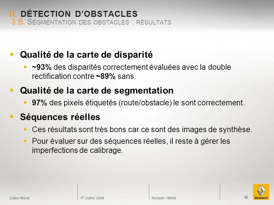 Julien Morat 1 er Juillet 2008 Renault / INRIA II. DÉTECTION DOBSTACLES Qualité de la carte de disparité ~93% des disparités correctement évaluées ave