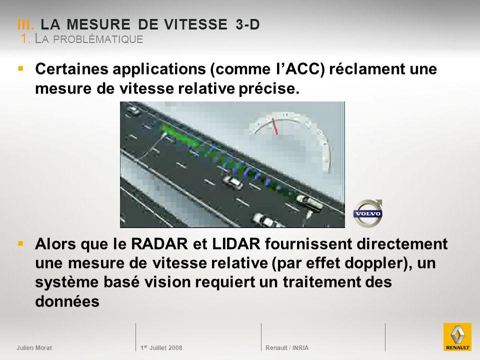 Julien Morat 1 er Juillet 2008 Renault / INRIA III. LA MESURE DE VITESSE 3-D Certaines applications (comme lACC) réclament une mesure de vitesse relat