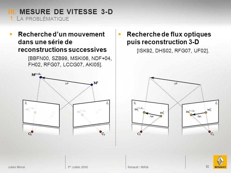 Julien Morat 1 er Juillet 2008 Renault / INRIA Recherche dun mouvement dans une série de reconstructions successives [BBFN00, SZB99, MSKI06, NDF+04, F