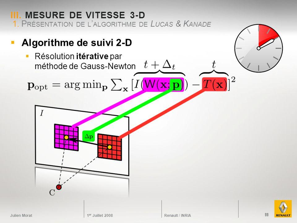 Julien Morat 1 er Juillet 2008 Renault / INRIA III. MESURE DE VITESSE 3-D 1. P RÉSENTATION DE L ALGORITHME DE L UCAS & K ANADE 99 Algorithme de suivi