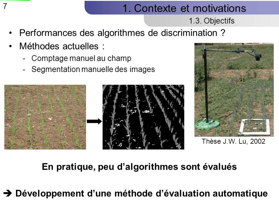 7 1.Contexte et motivations 1.3. Objectifs Performances des algorithmes de discrimination .