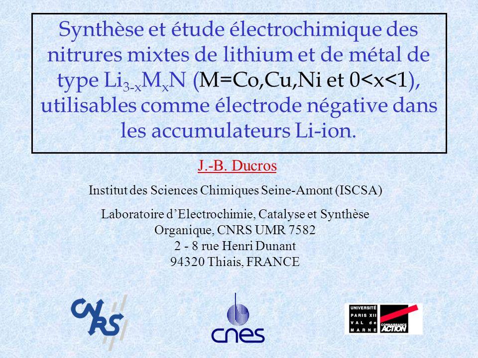 Synthèse et étude électrochimique des nitrures mixtes de lithium et de métal de type Li 3-x M x N (M=Co,Cu,Ni et 0<x<1), utilisables comme électrode n