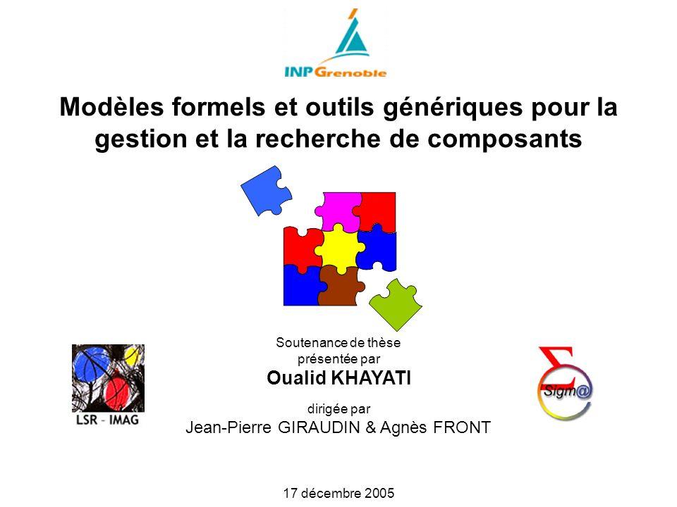 Modèles formels et outils génériques pour la gestion et la recherche de composants Soutenance de thèse présentée par Oualid KHAYATI dirigée par Jean-Pierre GIRAUDIN & Agnès FRONT 17 décembre 2005