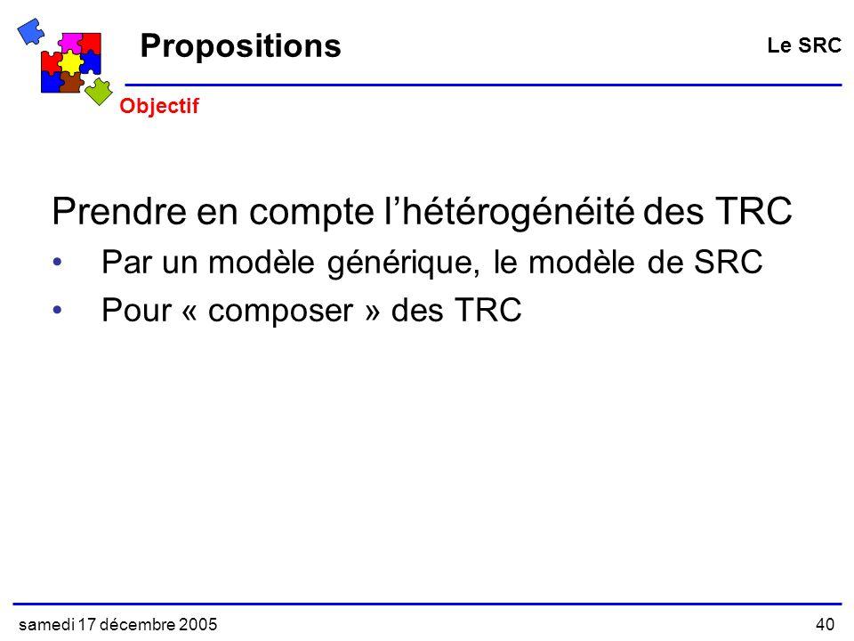 samedi 17 décembre 200540 Propositions Prendre en compte lhétérogénéité des TRC Par un modèle générique, le modèle de SRC Pour « composer » des TRC Le SRC Objectif