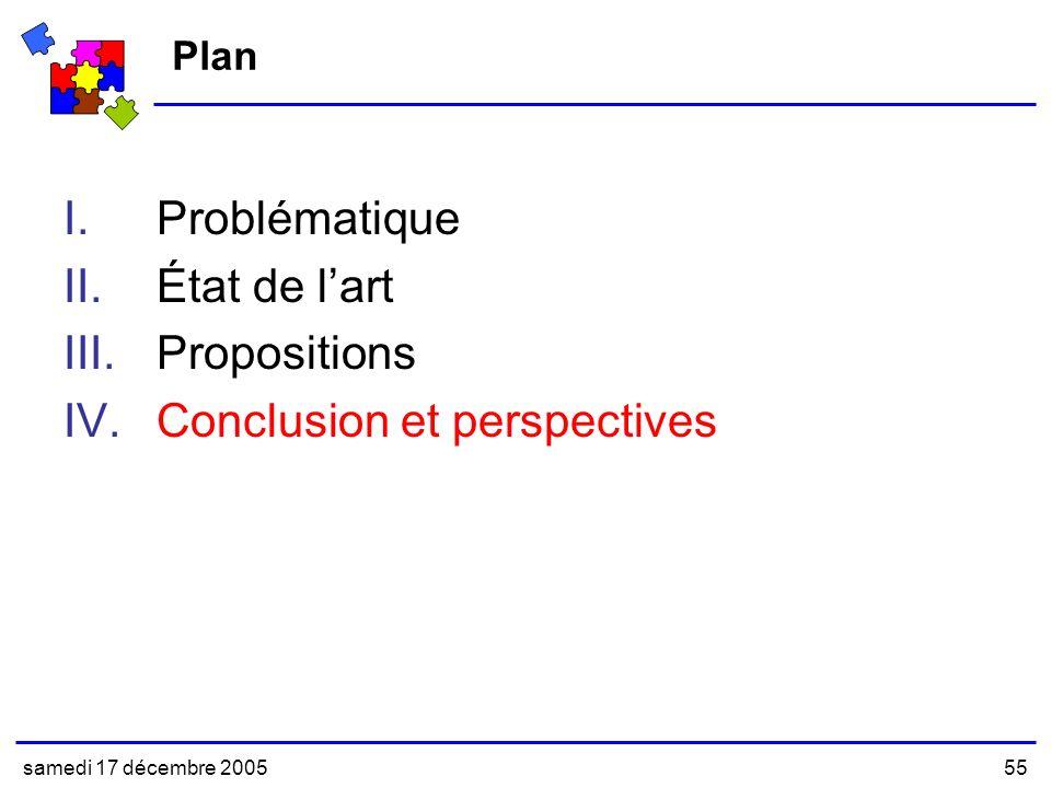 samedi 17 décembre 200555 Plan I.Problématique II.État de lart III.Propositions IV.Conclusion et perspectives
