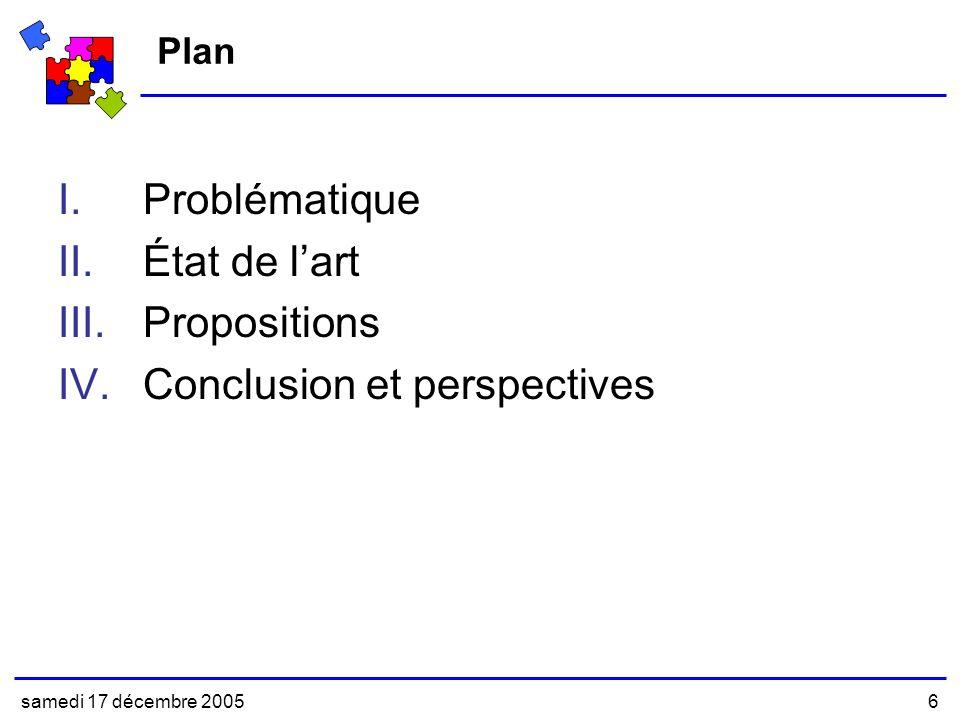 samedi 17 décembre 20056 Plan I.Problématique II.État de lart III.Propositions IV.Conclusion et perspectives