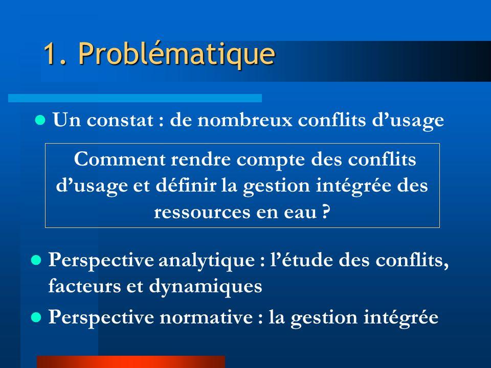 1. Problématique Perspective analytique : létude des conflits, facteurs et dynamiques Perspective normative : la gestion intégrée Comment rendre compt