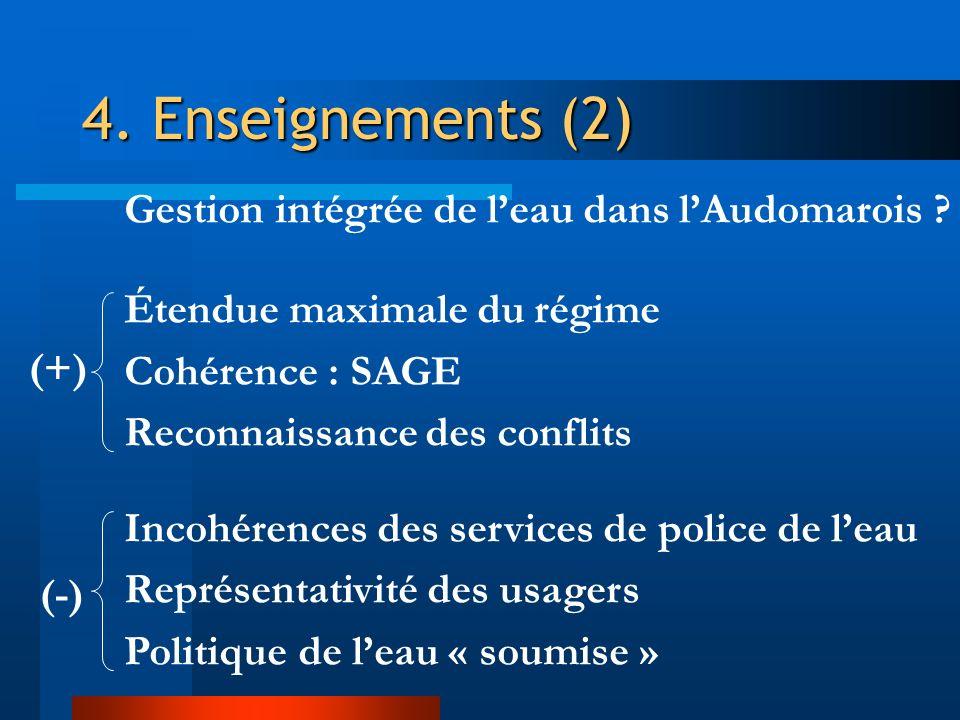 4. Enseignements (2) Gestion intégrée de leau dans lAudomarois ? Étendue maximale du régime Cohérence : SAGE Reconnaissance des conflits Incohérences