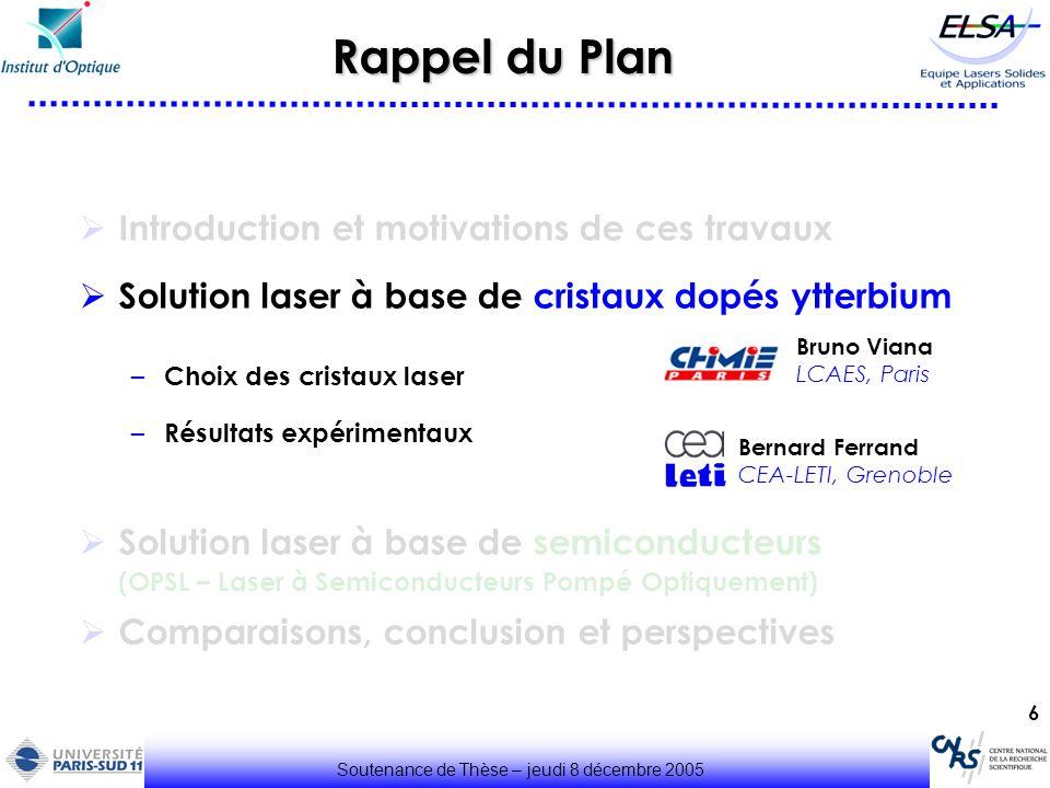 6 Rappel du Plan Introduction et motivations de ces travaux Solution laser à base de cristaux dopés ytterbium – Choix des cristaux laser – Résultats e
