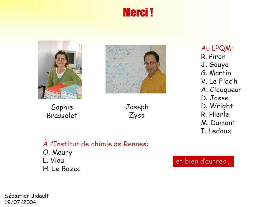 Sébastien Bidault 19/07/2004 Merci ! Sophie Brasselet Joseph Zyss Au LPQM: R. Piron J. Gouya G. Martin V. Le Floch A. Clouqueur D. Josse D. Wright R.