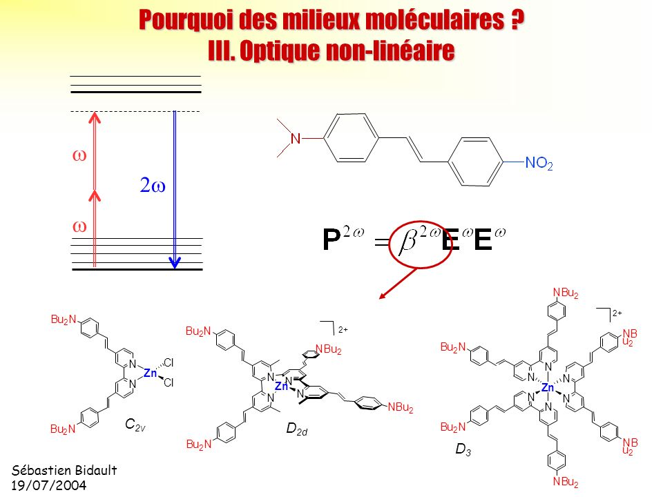 Sébastien Bidault 19/07/2004 Pourquoi des milieux moléculaires ? III. Optique non-linéaire 2 C 2v D 2d Cl Cl N N Bu 2 N Bu 2 N Zn D3D3 N N Bu 2 N NBu