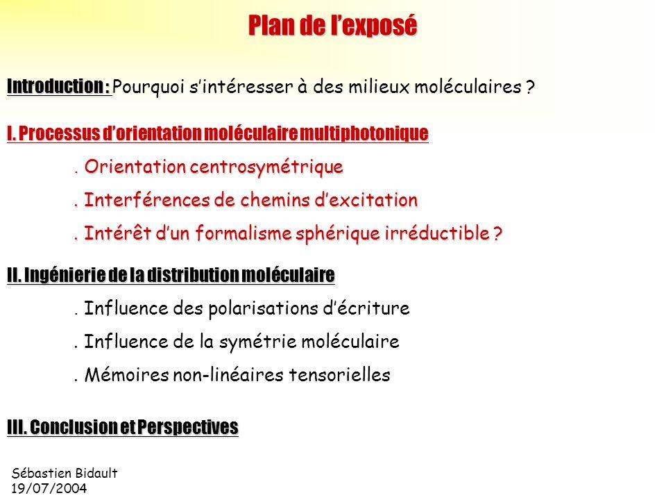 Sébastien Bidault 19/07/2004 Introduction : Introduction : Pourquoi sintéresser à des milieux moléculaires ? Plan de lexposé II. Ingénierie de la dist