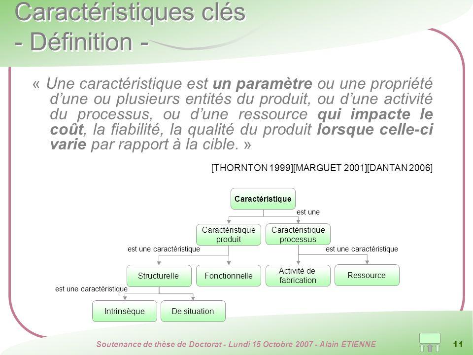 Soutenance de thèse de Doctorat - Lundi 15 Octobre 2007 - Alain ETIENNE 11 Caractéristiques clés - Définition - « Une caractéristique est un paramètre
