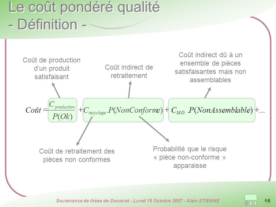 Soutenance de thèse de Doctorat - Lundi 15 Octobre 2007 - Alain ETIENNE 16 Le coût pondéré qualité - Définition -...)(.)(. )( ableNonAssemblPCeNonConf