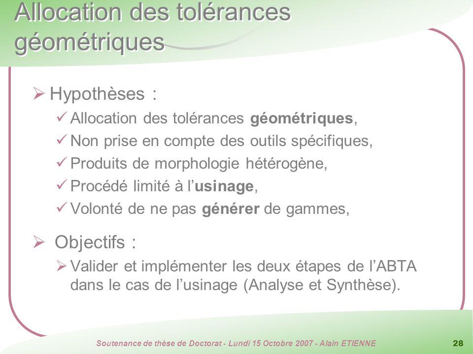 Soutenance de thèse de Doctorat - Lundi 15 Octobre 2007 - Alain ETIENNE 28 Allocation des tolérances géométriques Hypothèses : Allocation des toléranc