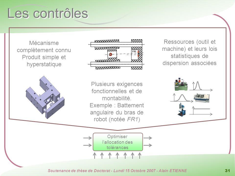 Soutenance de thèse de Doctorat - Lundi 15 Octobre 2007 - Alain ETIENNE 31 Les contrôles Mécanisme complètement connu Produit simple et hyperstatique