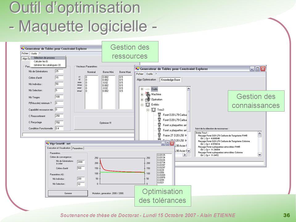 Soutenance de thèse de Doctorat - Lundi 15 Octobre 2007 - Alain ETIENNE 36 Gestion des ressources Outil doptimisation - Maquette logicielle - Gestion