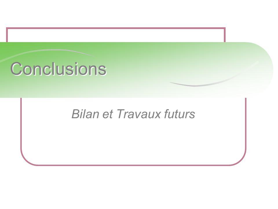 Conclusions Bilan et Travaux futurs