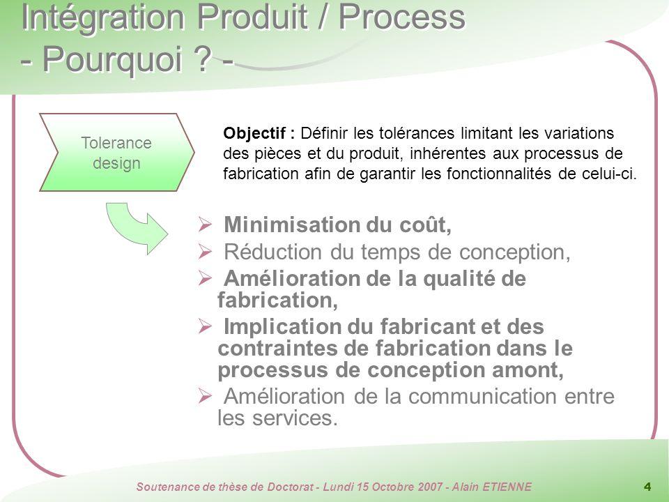 Soutenance de thèse de Doctorat - Lundi 15 Octobre 2007 - Alain ETIENNE 4 Intégration Produit / Process - Pourquoi ? - Minimisation du coût, Réduction