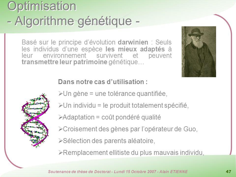 Soutenance de thèse de Doctorat - Lundi 15 Octobre 2007 - Alain ETIENNE 47 Optimisation - Algorithme génétique - Dans notre cas dutilisation : Un gène