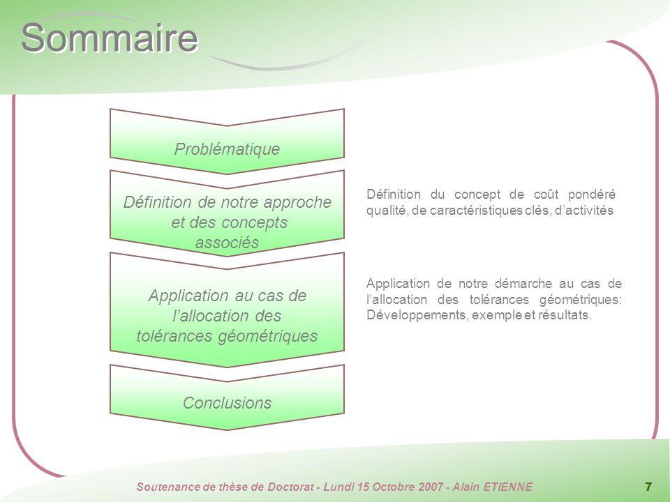 Soutenance de thèse de Doctorat - Lundi 15 Octobre 2007 - Alain ETIENNE 7 Sommaire Application au cas de lallocation des tolérances géométriques Défin