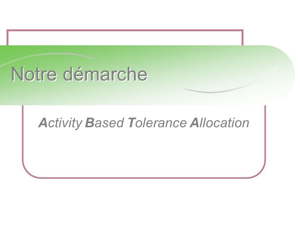 Notre démarche Activity Based Tolerance Allocation