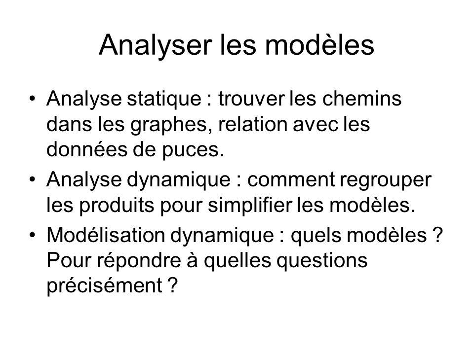 Analyser les modèles Analyse statique : trouver les chemins dans les graphes, relation avec les données de puces.