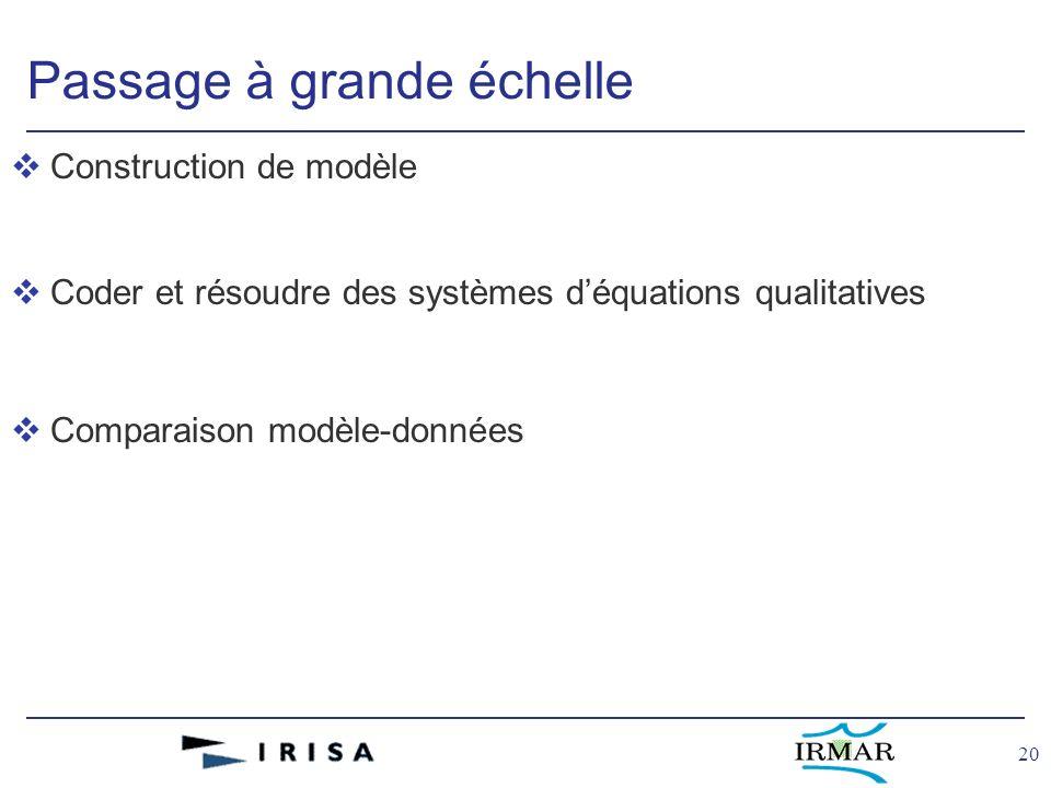 20 Passage à grande échelle vConstruction de modèle vCoder et résoudre des systèmes déquations qualitatives vComparaison modèle-données