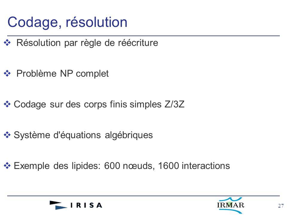 27 Codage, résolution v Résolution par règle de réécriture v Problème NP complet vCodage sur des corps finis simples Z/3Z vSystème d équations algébriques vExemple des lipides: 600 nœuds, 1600 interactions