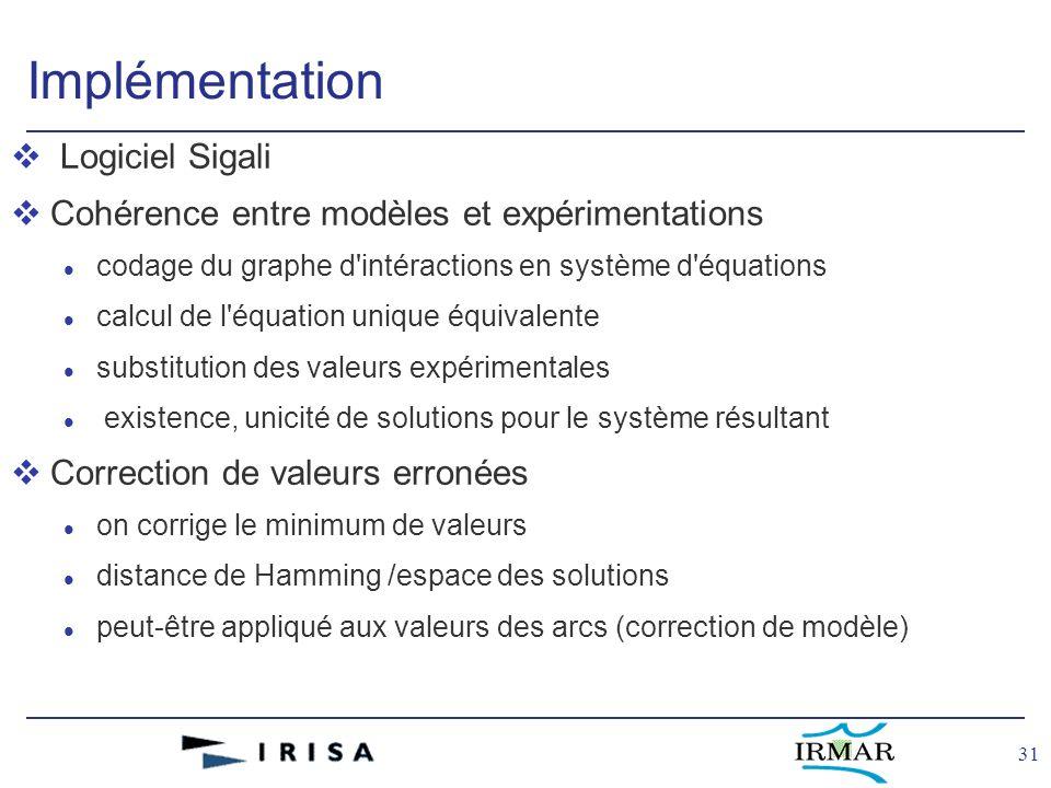 31 Implémentation v Logiciel Sigali vCohérence entre modèles et expérimentations l codage du graphe d'intéractions en système d'équations l calcul de