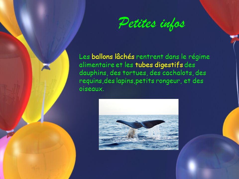 Petites infos Les ballons lâchés rentrent dans le régime alimentaire et les tubes digestifs des dauphins, des tortues, des cachalots, des requins,des