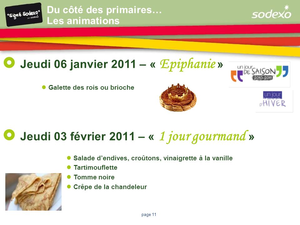 page 11 Jeudi 03 février 2011 – « 1 jour gourmand » Salade dendives, croûtons, vinaigrette à la vanille Tartimouflette Tomme noire Crêpe de la chandel