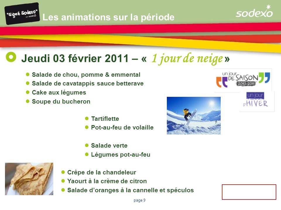 page 9 Jeudi 03 février 2011 – « 1 jour de neige » Crêpe de la chandeleur Yaourt à la crème de citron Salade doranges à la cannelle et spéculos Salade