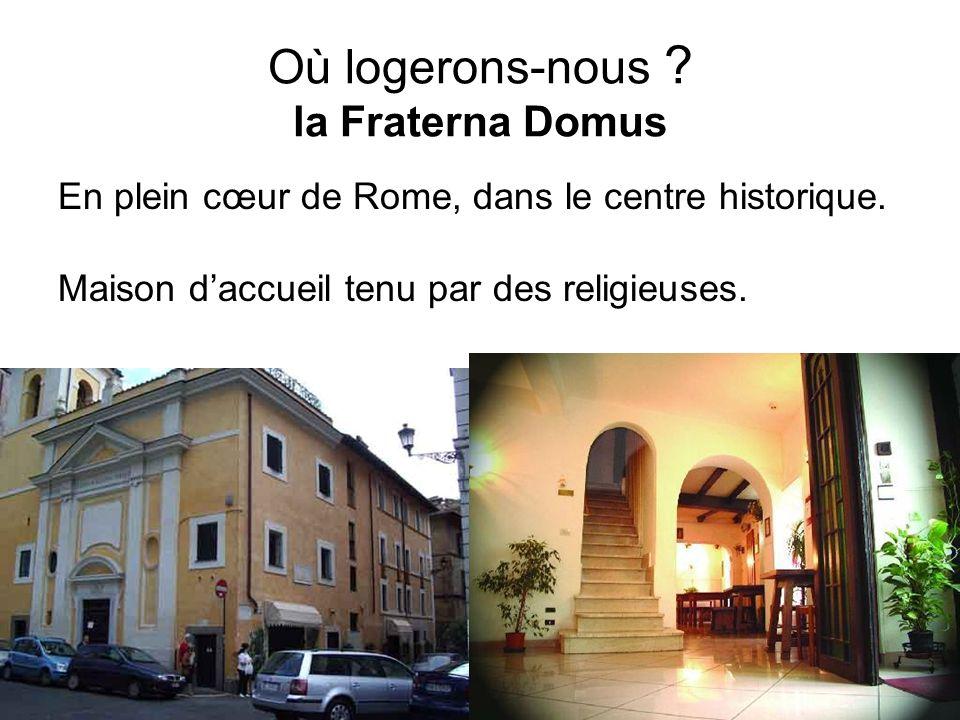 Où logerons-nous ? la Fraterna Domus En plein cœur de Rome, dans le centre historique. Maison daccueil tenu par des religieuses.