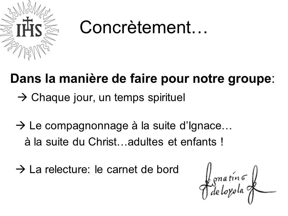 Concrètement… Dans la manière de faire pour notre groupe: Chaque jour, un temps spirituel Le compagnonnage à la suite dIgnace… à la suite du Christ…ad