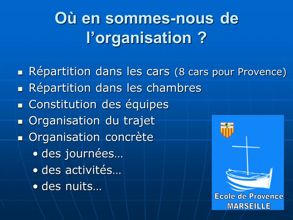 Où en sommes-nous de lorganisation ? Répartition dans les cars (8 cars pour Provence) Répartition dans les cars (8 cars pour Provence) Répartition dan