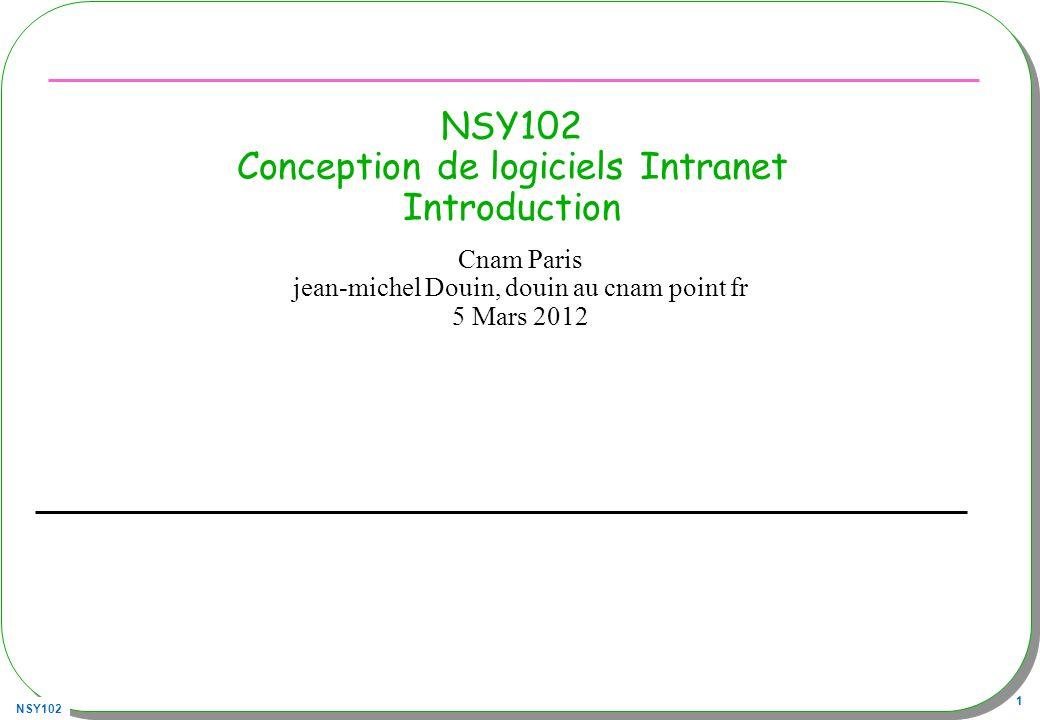 NSY102 62 Multi-niveaux (n-tiers) Plusieurs niveaux –Présentation | Traitement | Données –http://remi.leblond.free.fr/probatoire/probatoire.html