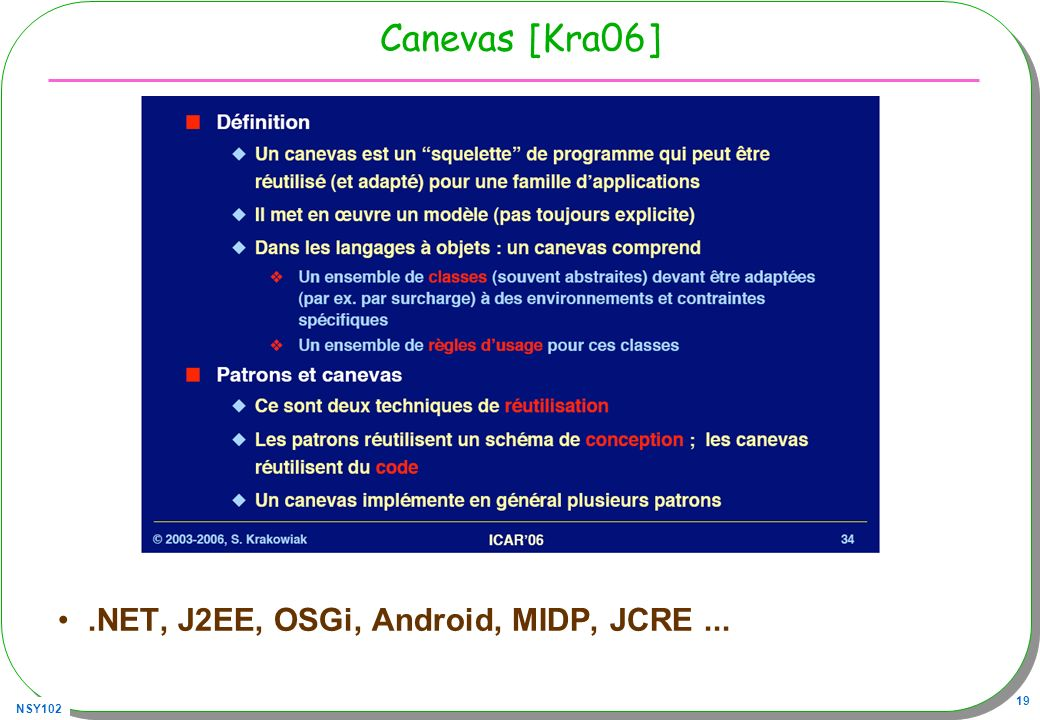 NSY102 19 Canevas [Kra06].NET, J2EE, OSGi, Android, MIDP, JCRE...