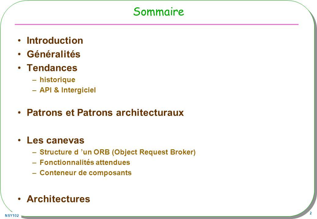 NSY102 23 Conformité décrit ici –www.irisa.fr/triskell/publis/1999/Beugnard99.pdf –www.i3s.unice.fr/~mh/RR/2002/RR-02.49-R.ROUSSEAU.pdf Syntaxique –forme des opérations, types des paramètres, (résolu statiquement) –soit : l interface I1 proposant la méthode m1 et I2 la méthode m2 –T(X) type de X, T1 est un sous type de T2 noté T1 T2 T(I1) T(I2) si I2 a au moins le même nombre de méthodes que I1 et pour toutes les méthodes –m1, m2 ont le même nombre de paramètres et valeurs de retour –pour les valeurs de retour r1 de m1, r2 de m2 T(r2) T(r1) –pour les paramètres x1..xn de m1 et y1..yn de m2 T(x1) T(y1) I1I2