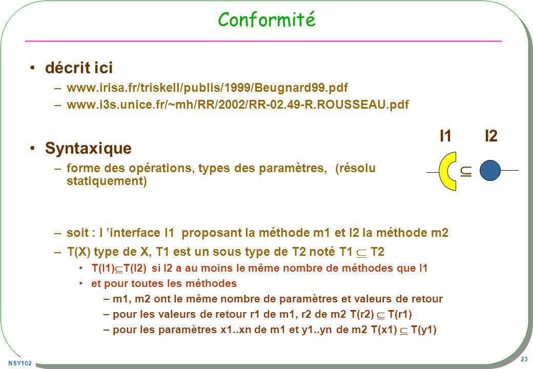 NSY102 23 Conformité décrit ici –www.irisa.fr/triskell/publis/1999/Beugnard99.pdf –www.i3s.unice.fr/~mh/RR/2002/RR-02.49-R.ROUSSEAU.pdf Syntaxique –fo