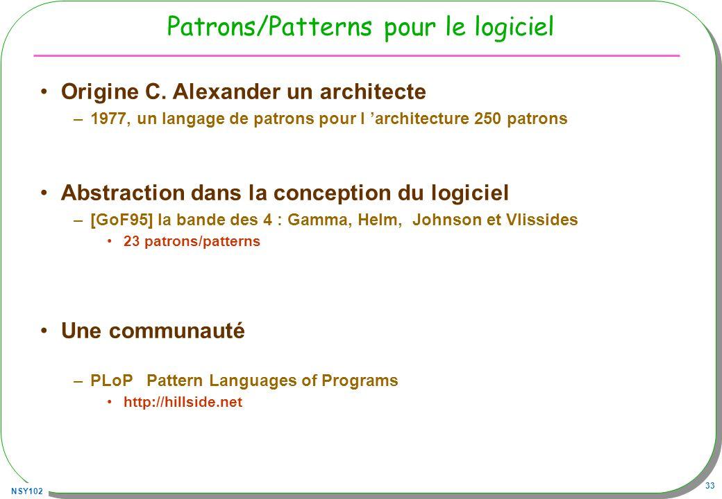 NSY102 33 Patrons/Patterns pour le logiciel Origine C. Alexander un architecte –1977, un langage de patrons pour l architecture 250 patrons Abstractio