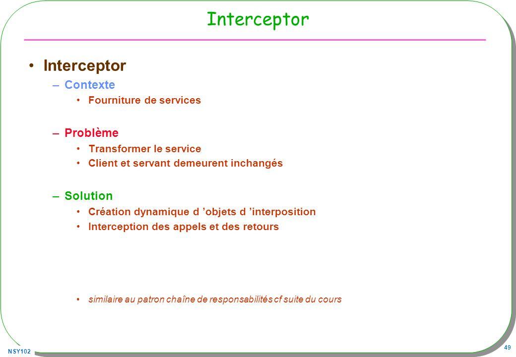 NSY102 49 Interceptor –Contexte Fourniture de services –Problème Transformer le service Client et servant demeurent inchangés –Solution Création dynam
