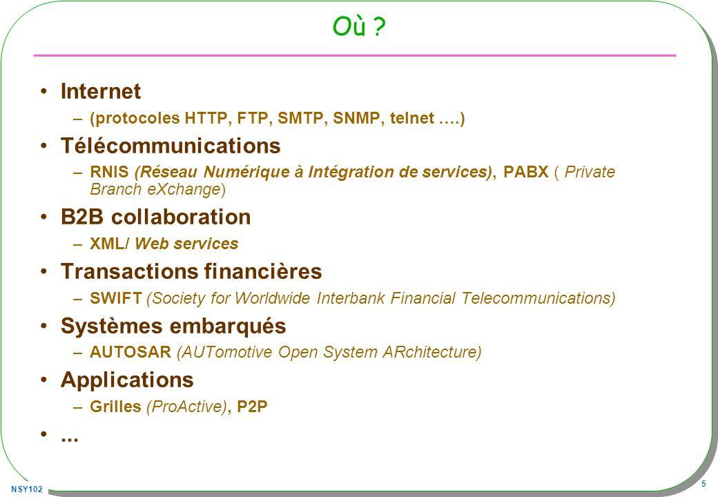 NSY102 5 Où ? Internet –(protocoles HTTP, FTP, SMTP, SNMP, telnet ….) Télécommunications –RNIS (Réseau Numérique à Intégration de services), PABX ( Pr