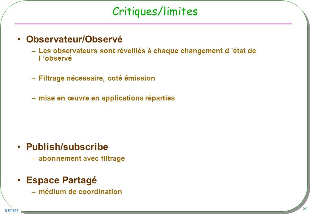 NSY102 57 Critiques/limites Observateur/Observé –Les observateurs sont réveillés à chaque changement d état de l observé –Filtrage nécessaire, coté ém