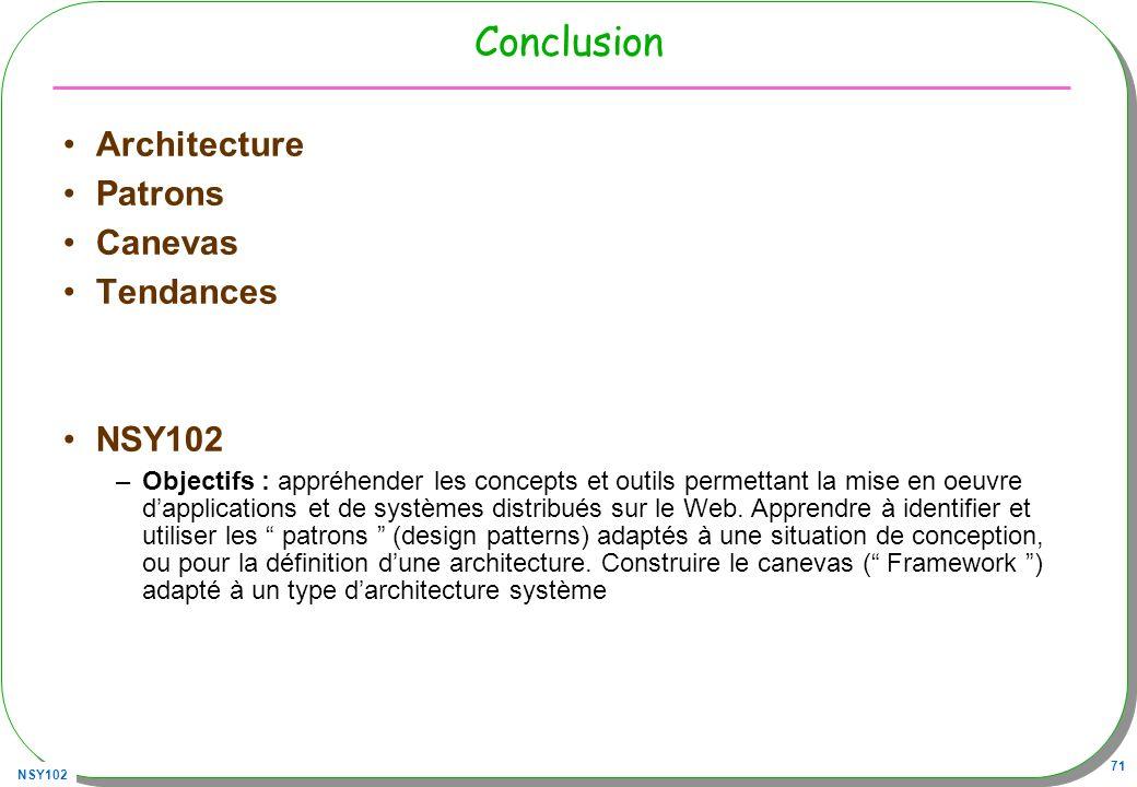 NSY102 71 Conclusion Architecture Patrons Canevas Tendances NSY102 –Objectifs : appréhender les concepts et outils permettant la mise en oeuvre dappli