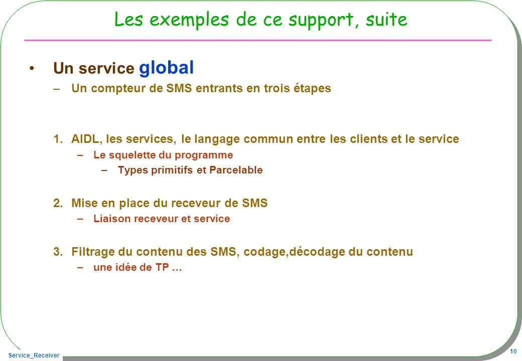 Service_Receiver 10 Les exemples de ce support, suite Un service global –Un compteur de SMS entrants en trois étapes 1.AIDL, les services, le langage