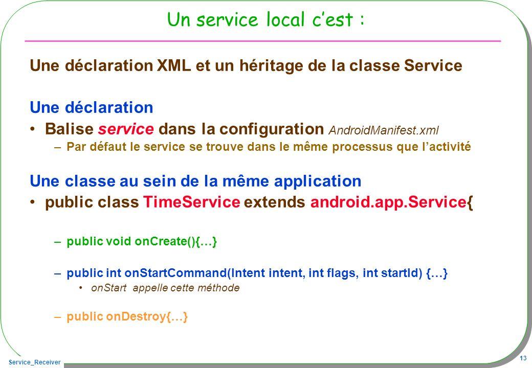 Service_Receiver 13 Un service local cest : Une déclaration XML et un héritage de la classe Service Une déclaration Balise service dans la configurati