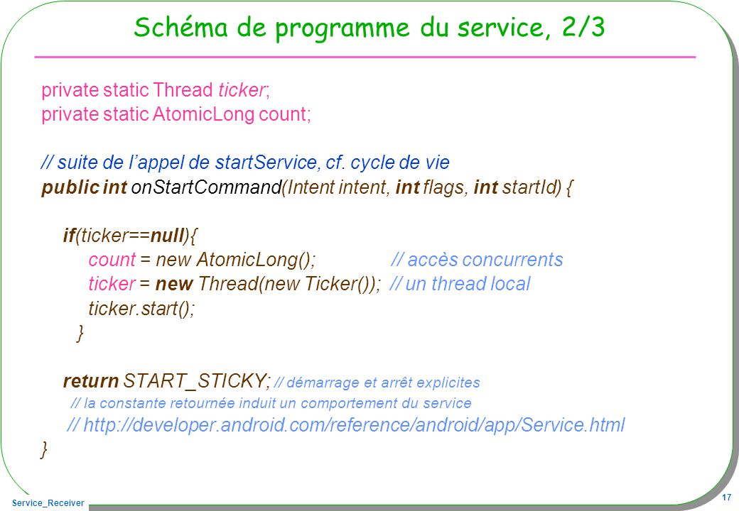 Service_Receiver 17 Schéma de programme du service, 2/3 private static Thread ticker; private static AtomicLong count; // suite de lappel de startServ